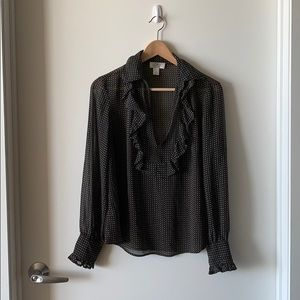 Sheer Black Blouse with Ruffles